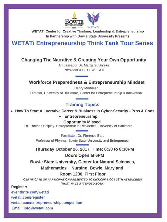 WETATi Entrepreneurship Think Tour Series 10/26/17